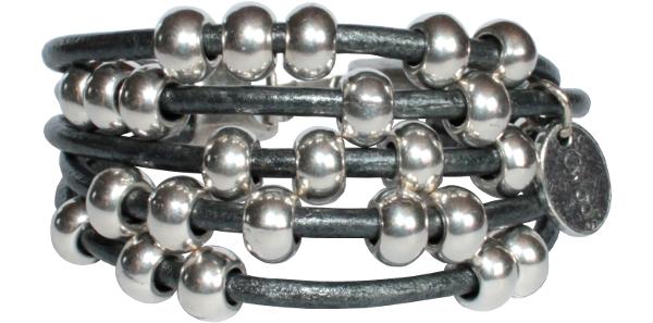 Bracelet femme cuir et boules gris anthracite