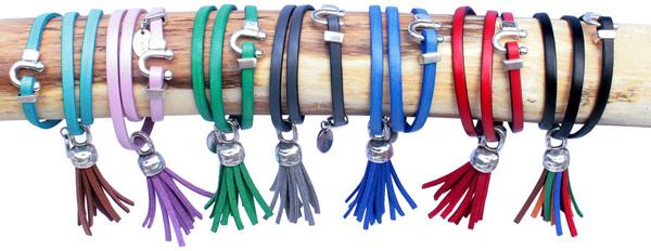 Bracelets cuir femme 3 tours et mini pompon
